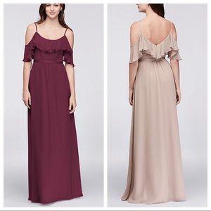 Cold-Shoulder Chiffon Davids Bridal Dress WINE 18